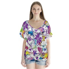 Lilac Lillys Flutter Sleeve Top