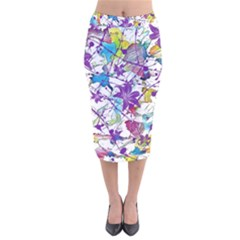 Lilac Lillys Velvet Midi Pencil Skirt
