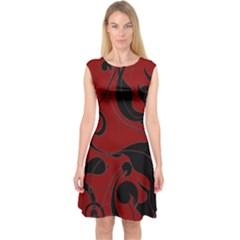 Floral pattern Capsleeve Midi Dress