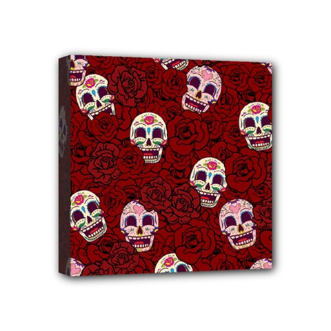Funny Skull Rosebed Mini Canvas 4  X 4