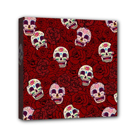 Funny Skull Rosebed Mini Canvas 6  x 6