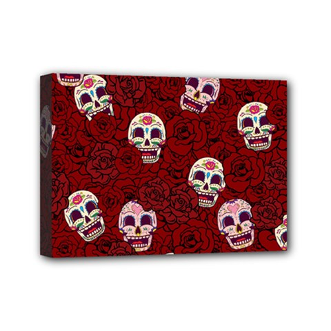 Funny Skull Rosebed Mini Canvas 7  x 5
