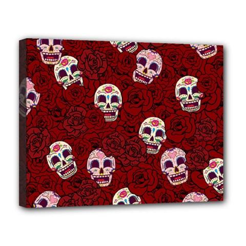 Funny Skull Rosebed Canvas 14  x 11