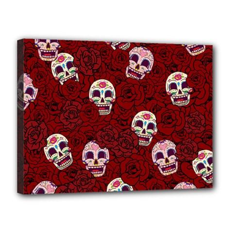 Funny Skull Rosebed Canvas 16  x 12