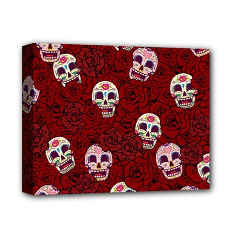 Funny Skull Rosebed Deluxe Canvas 14  x 11