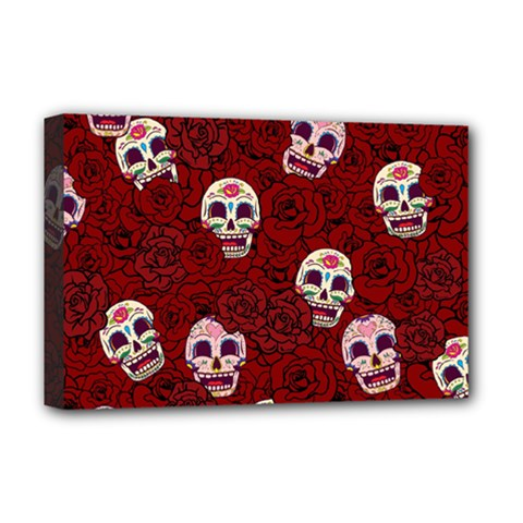 Funny Skull Rosebed Deluxe Canvas 18  x 12