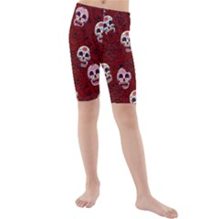 Funny Skull Rosebed Kids  Mid Length Swim Shorts