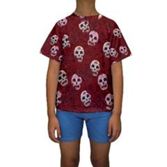 Funny Skull Rosebed Kids  Short Sleeve Swimwear