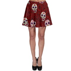 Funny Skull Rosebed Skater Skirt