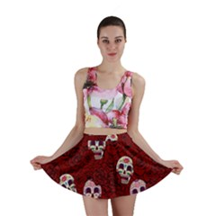 Funny Skull Rosebed Mini Skirt