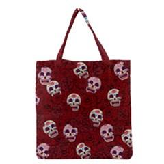 Funny Skull Rosebed Grocery Tote Bag