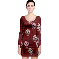 Funny Skull Rosebed Long Sleeve Bodycon Dress
