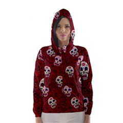 Funny Skull Rosebed Hooded Wind Breaker (Women)
