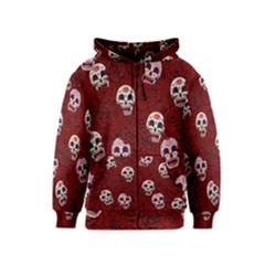 Funny Skull Rosebed Kids  Zipper Hoodie