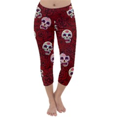 Funny Skull Rosebed Capri Winter Leggings