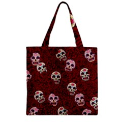 Funny Skull Rosebed Zipper Grocery Tote Bag