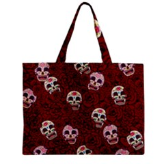 Funny Skull Rosebed Zipper Mini Tote Bag