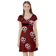 Funny Skull Rosebed Short Sleeve Skater Dress