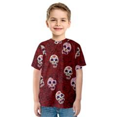 Funny Skull Rosebed Kids  Sport Mesh Tee