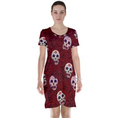 Funny Skull Rosebed Short Sleeve Nightdress