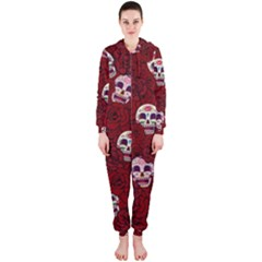 Funny Skull Rosebed Hooded Jumpsuit (Ladies)