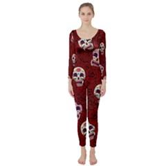 Funny Skull Rosebed Long Sleeve Catsuit