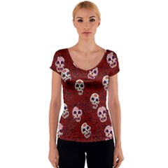 Funny Skull Rosebed Women s V-Neck Cap Sleeve Top