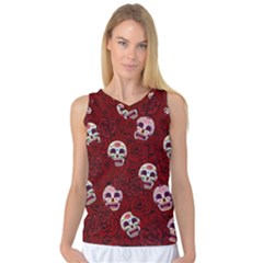 Funny Skull Rosebed Women s Basketball Tank Top