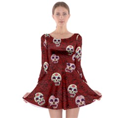 Funny Skull Rosebed Long Sleeve Skater Dress