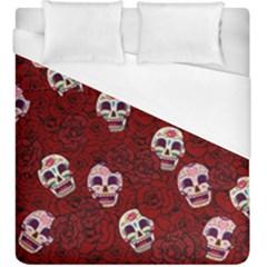 Funny Skull Rosebed Duvet Cover (King Size)
