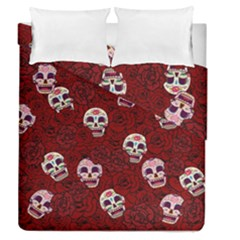 Funny Skull Rosebed Duvet Cover Double Side (Queen Size)
