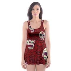 Funny Skull Rosebed Skater Dress Swimsuit