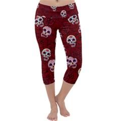 Funny Skull Rosebed Capri Yoga Leggings