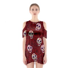 Funny Skull Rosebed Shoulder Cutout One Piece