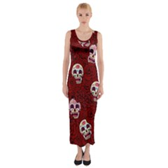 Funny Skull Rosebed Fitted Maxi Dress