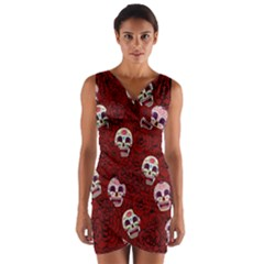 Funny Skull Rosebed Wrap Front Bodycon Dress