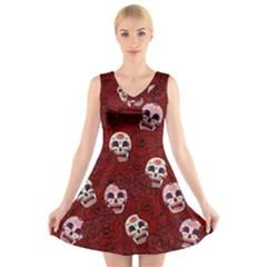 Funny Skull Rosebed V-Neck Sleeveless Skater Dress