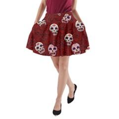 Funny Skull Rosebed A-Line Pocket Skirt