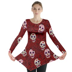 Funny Skull Rosebed Long Sleeve Tunic