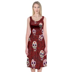 Funny Skull Rosebed Midi Sleeveless Dress