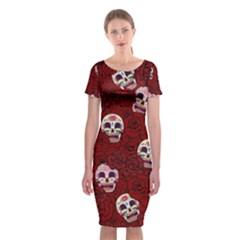 Funny Skull Rosebed Classic Short Sleeve Midi Dress