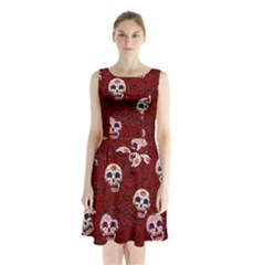 Funny Skull Rosebed Sleeveless Waist Tie Chiffon Dress