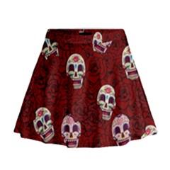 Funny Skull Rosebed Mini Flare Skirt