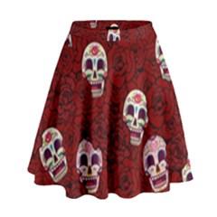 Funny Skull Rosebed High Waist Skirt