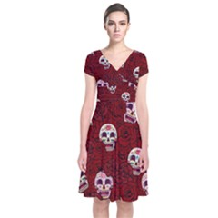 Funny Skull Rosebed Short Sleeve Front Wrap Dress