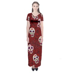 Funny Skull Rosebed Short Sleeve Maxi Dress