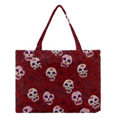 Funny Skull Rosebed Medium Tote Bag