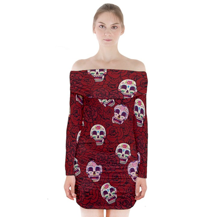 Funny Skull Rosebed Long Sleeve Off Shoulder Dress