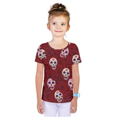 Funny Skull Rosebed Kids  One Piece Tee