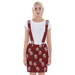 Funny Skull Rosebed Braces Suspender Skirt